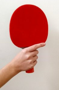 Shakehand ping pong paddle grip index finger placement