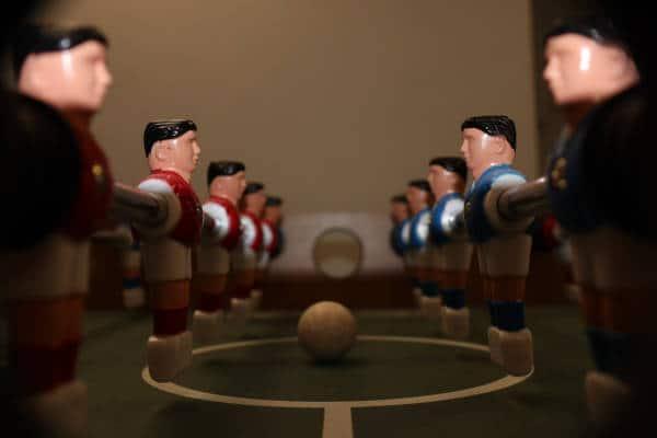 Foosmen lining up for battle