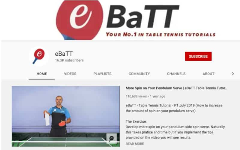 eBaTT Table Tennis training